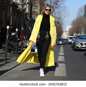 PARIS, France- February 28 2018: Sofie Valkiers on the street during the Paris Fashion Week