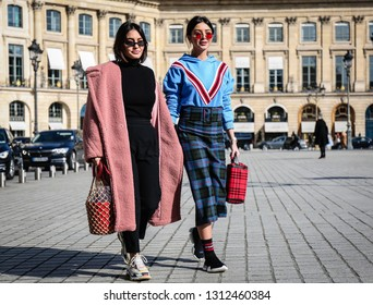 PARIS, France- February 28 2018: Women on the street during the Paris Fashion Week.
