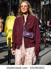 PARIS, France- February 28 2018: Leonie Hanne on the street during the Paris Fashion Week.