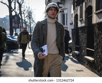 PARIS, France- February 28 2018: Giovanni Dario Laudicina on the street during the Paris Fashion Week.