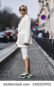 Paris, France - February 28, 2019: Street style outfit -  Xenia Adonts before a fashion show during Paris Fashion Week - PFWFW19