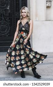 Paris, France - February 28, 2019: Street style outfit -  Caroline Daur before a fashion show during Paris Fashion Week - PFWFW19