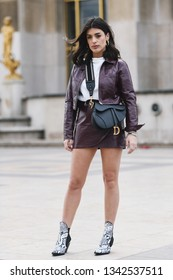 Paris, France - February 28, 2019: Street style outfit -  Aida Domenech before a fashion show during Paris Fashion Week - PFWFW19