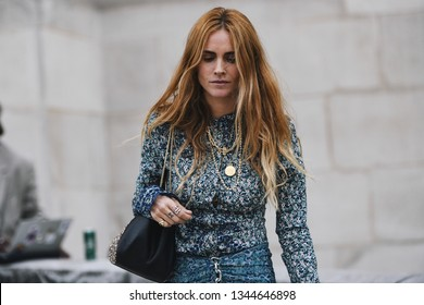 Paris, France - February 28, 2019: Street style outfit -  Blanca Miro before a fashion show during Paris Fashion Week - PFWFW19