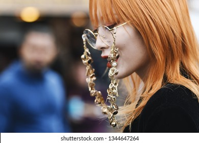 Paris, France - February 28, 2019: Street style outfit -  before a fashion show during Paris Fashion Week - PFWFW19