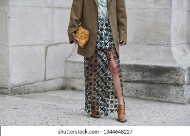 Paris, France - February 28, 2019: Street style outfit -  Sheer skirt, brown blazer, knit before a fashion show during Paris Fashion Week - PFWFW19
