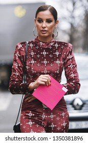 Paris, France - February 28, 2019: Street style outfit before a fashion show during Paris Fashion Week - PFWFW19