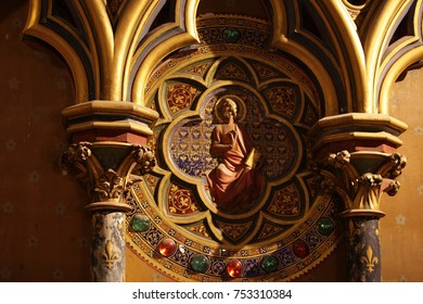 PARIS, FRANCE, February 3, 2013 : Interiors and architectural details of the Sainte Chapelle church, built in 1239, Paris, France.
