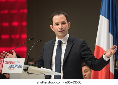 PARIS, FRANCE - FEBRUARY 5, 2017 : Benoit Hamon the representative of Socialist Party during the nomination convention for the French presidential election of 2017 at la Maison de la Mutualite.