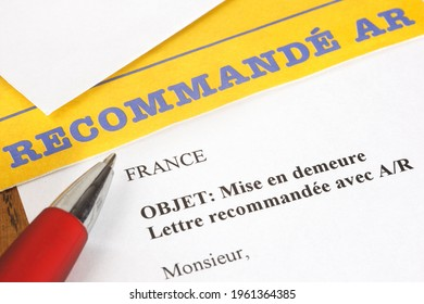 Paris, France - February 6, 2012: Letter of formal notice sent by registered mail with acknowledgment of receipt and proof of deposit
