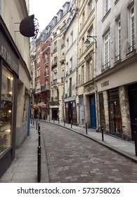 Paris, France - February 6, 2017: Street view of Rue Galande used as location for Midnight in Paris movie.