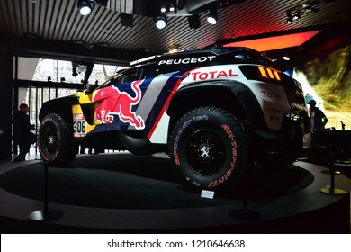 Paris, France - February 6th 2018 : Peugeot 3008 DKR shown inside Peugeot's showroom in Paris (back).