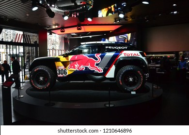 Paris, France - February 6th 2018 : Peugeot 3008 DKR shown inside Peugeot's showroom in Paris (profile).