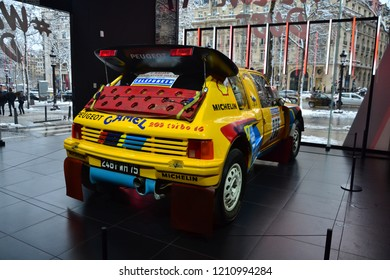 Paris, France - February 6th 2018 : Peugeot 205 turbo 16 shown in Peugeot' showroom. This car won in particular 4 Paris-Dakar and 2 rally world cup (in 1985 and 1986).