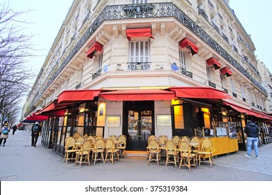 Paris, France, February 7, 2016: street cafe in Paris, France