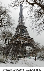 Paris, France - February 7, 2018: Eiffel tower covered with snow