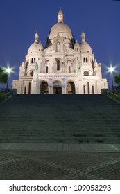 Paris, France: frontal view of Sacre coeur (Sacred Heart cathedral) at dusk