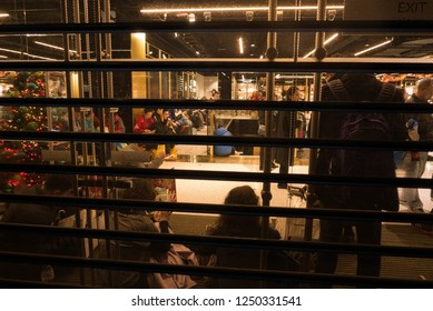 Paris, France, Gilets jaune 1.12.18, Galeries Lafayette shut their iron curtains with their shoppers inside to protect them until police arrived.