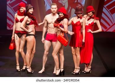 PARIS, FRANCE - JAN. 25, 2015: Models walk the runway at the International Lingerie Show in Paris where over 20,000 buyers meet 500 exhibitors from 37 different countries.