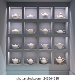 PARIS, FRANCE - JAN; 26, 2015: Tea pots are on display at Maison et Objet, the French leading professional trade show for home fashion and design.