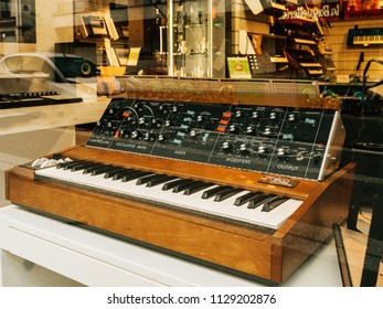 PARIS, FRANCE - JAN 30, 2018: Sale of the Minimoog is a monophonic analog synthesizer, invented by Bill Hemsath and Robert Moog