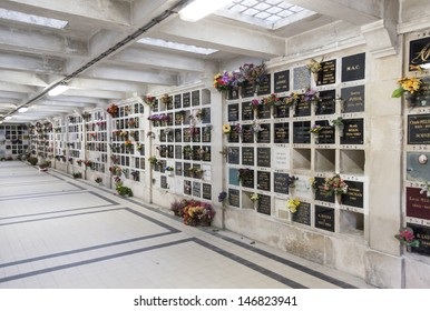 PARIS, FRANCE - JANUARY 01, 2013: Inside the columbarium of the Pere Lachaise cemetery on January 01, 2013 in Paris, France