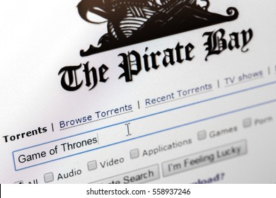 Paris, France - January 03, 2017 : Photo of The Pirate Bay homepage with close up on search area where user write the name game of thrones