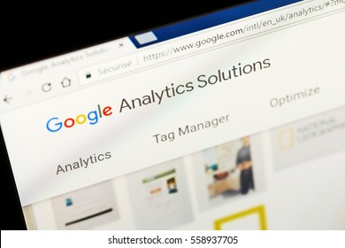 Paris, France - January 03, 2017 : Close up of Google analytics main page on a computer screen. Google Analytics is a service offered by Google that generates statistics about a website's traffic.