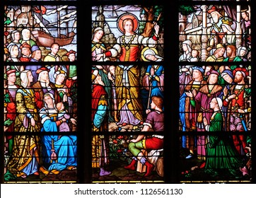 PARIS, FRANCE - JANUARY 04: Apostolate of St. Mary Magdalene, stained glass window in Saint Severin church in Paris, France on January 04, 2018.