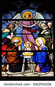 PARIS, FRANCE - JANUARY 04: Nativity Scene, Adoration of the Shepherds, stained glass window in Saint Severin church in Paris, France on January 04, 2018.