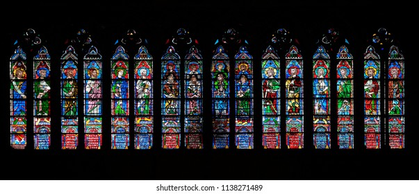 PARIS, FRANCE - JANUARY 04: Prophets, stained glass window in the Notre Dame Cathedral, UNESCO World Heritage Site in Paris, France on January 04, 2018.