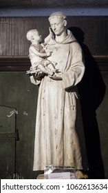 PARIS, FRANCE - JANUARY 04: Saint Anthony of Padua holding child Jesus, statue in the Saint Sulpice Church, Paris, France on January 04, 2018.