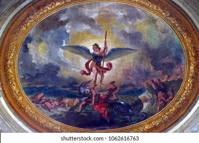 PARIS, FRANCE - JANUARY 04: Saint Michael slaying the dragon by Eugene Delacroix, painting on the ceiling of the Saint Sulpice Church, Paris, France on January 04, 2018.