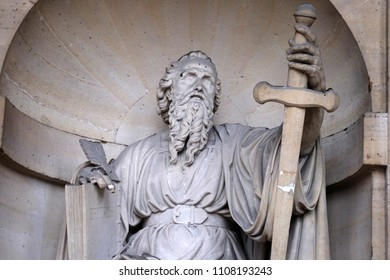 PARIS, FRANCE - JANUARY 04: Saint Paul the Apostle, statue on the portal of the Saint Sulpice Church, Paris, France on January 04, 2018.
