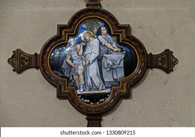 PARIS, FRANCE - JANUARY 05: 1st Stations of the Cross, Jesus is condemned to death, St Francis Xavier's Church in Paris, France on January 05, 2018.