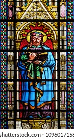 PARIS, FRANCE - JANUARY 05: Saint Prosper, stained glass window in the Basilica of Saint Clotilde in Paris, France on January 05, 2018.