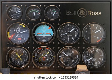 Paris, France - January 07, 2010: Bell and Ross Display Case With Flight Instruments Panel in Paris, France.