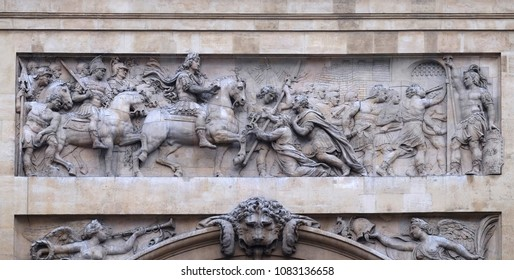 PARIS, FRANCE - JANUARY 07: Capture of the town of Maastricht, detail of the Porte Saint Denis is a Parisian monument located in the 10th arrondissement in Paris, France on January 07, 2018.
