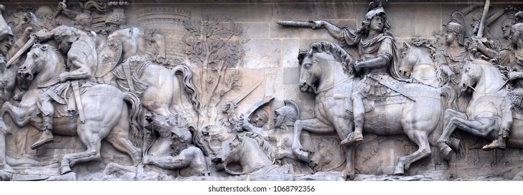 PARIS, FRANCE - JANUARY 07: Passage of the Rhine, detail of the Porte Saint Denis is a Parisian monument located in the 10th arrondissement in Paris, France on January 07, 2018.