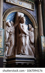 PARIS, FRANCE - JANUARY 09: Ecce Homo by Antoine Etex in the Chapel of the Souls of Purgatory, Saint Eustache church in Paris, France on January 09, 2018.