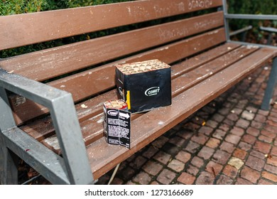 Paris, France - January 1, 2018: Fireworks and petards garbage left on the park bench after winter holiday celebration in the French capital Paris - Comet Feuerwerk
