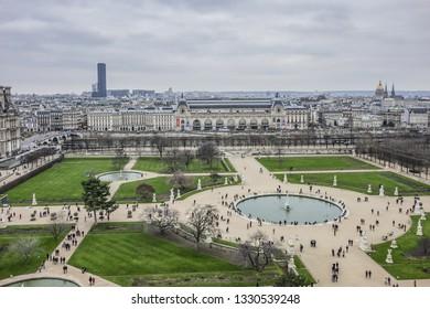 PARIS, FRANCE - JANUARY 1, 2019: Top view on Paris Jardin des Tuileries (Tuileries garden, 1564). Jardin des Tuileries is a public garden located between Louvre Museum and Place de la Concorde.