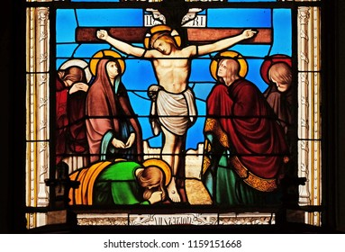 PARIS, FRANCE - JANUARY 10: 12th Stations of the Cross, Jesus dies on the cross, stained glass window in the Saint Eugene - Saint Cecilia Church, Paris, France on January 10, 2018.