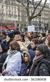 PARIS, FRANCE - January 10, 2016: ceremony place de la Republique to commemorate victims of the bombing and shooting rampage, Charlie Hebdo terrorist attack and of Marches Republicaines demonstration