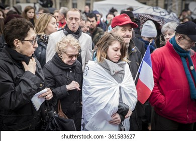 PARIS, FRANCE - January 10, 2016: ceremony to commemorate victims of the bombing and shooting rampage, commemoration of Charlie Hebdo terrorist attack and of Marches Republicaines demonstration