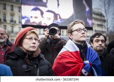 PARIS, FRANCE - January 10, 2016: ceremony place de la Republique to commemorate victims of the  shooting rampage, commemoration of Charlie Hebdo terrorist attack