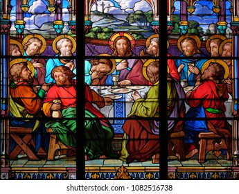 PARIS, FRANCE - JANUARY 10: Last Supper, stained glass window in the Saint Eugene - Saint Cecilia Church, Paris, France on January 10, 2018.