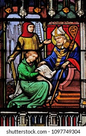 PARIS, FRANCE - JANUARY 10: Scenes from the life of Saint Eugene, stained glass windows in the Saint Eugene - Saint Cecilia Church, Paris, France on January 10, 2018.