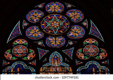 PARIS, FRANCE - JANUARY 10: Stained glass windows in the Saint Eugene - Saint Cecilia Church, Paris, France on January 10, 2018.