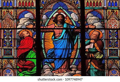 PARIS, FRANCE - JANUARY 10: Transfiguration of Jesus, stained glass windows in the Saint Eugene - Saint Cecilia Church, Paris, France on January 10, 2018.